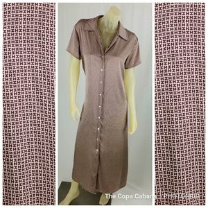 Halston Silk Blend H Brown Tan Shirt Dess